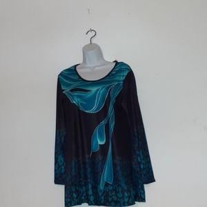 NWT Beautiful Turquoise and Black Top